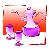 Wine glass. A old fashion tea set or container for wine, vector, illustration Royalty Free Stock Photography