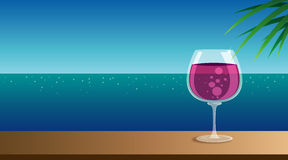 Wine glass. A glass of grape wine on the cocktail bar table. In front of the cocktail bar is the beautiful sea view vector illustration