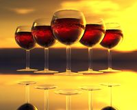 Wine glass in 3D Stock Photo
