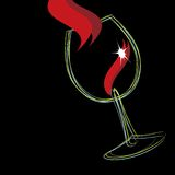 Wine glass. Illustration of a glass of wine isolated over black background Stock Photography