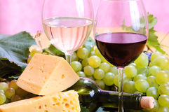 Wine in glass. And cheese Stock Photo