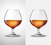 Wine glass With Alcohol Transparent Banners Royalty Free Stock Photos