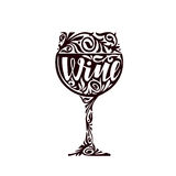 Wine. Glass of alcoholic beverage in a decorative floral ornament. Vector illustration Stock Photography