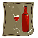 Wine Glass And Bottle For Wine Royalty Free Stock Photos