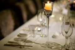 Wine glass in bar. Some wine glass and Tableware in table Royalty Free Stock Images