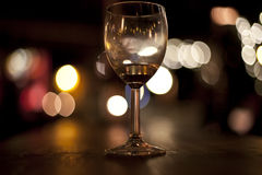 Wine Glass. In bar at night Royalty Free Stock Photo