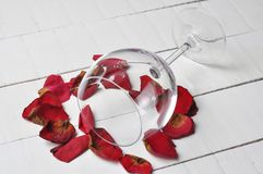 Wine glass and beautiful red rose isolated on white background. petals rose.Copy space. Gift romance day celebration love blossom nature valentine flower floral stock photo