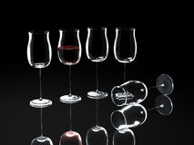 Wine glass on black Royalty Free Stock Photography