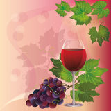 Wine glass and black grape Stock Photos