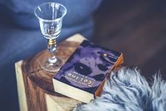 Wine glass & book stock photos