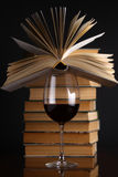 Wine glass and books Royalty Free Stock Photos