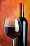 Wine, glass and the bottle Stock Images