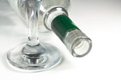 Wine glass and bottle. Royalty Free Stock Photos