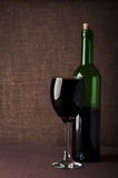 Wine glass and bottle Royalty Free Stock Image