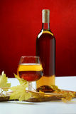 Wine glass and bottle Royalty Free Stock Photos