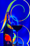 Wine glass and bottle abstract. A glass of wine and bottle against elegant graphic abstract background Royalty Free Stock Photos