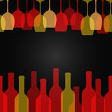 Wine glass bottle art design background Royalty Free Stock Photo