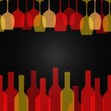 Wine glass bottle art design background stock illustration