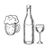 Wine glass, bottle and beer tankard Royalty Free Stock Photography