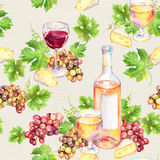 Wine glass, bottle, cheese, leaves, grape. Seamless background. Watercolor Stock Photo