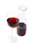 Wine glass and bottle composition isolated Royalty Free Stock Photo