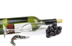 Wine glass and bottle. Royalty Free Stock Photo