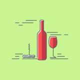 Wine glass bottle flat design background Stock Photos