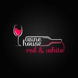 Wine glass bottle house design background vector illustration