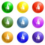 Wine glass bottle icons set vector. Wine glass bottle icons vector 9 color set isolated on white background for any web design royalty free illustration