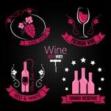 Wine glass bottle label set Royalty Free Stock Photos