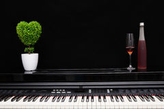 Wine glass and bottle on piano. With black background royalty free stock photos