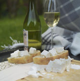 Wine Glass and Bottle at Picnic Stock Photo