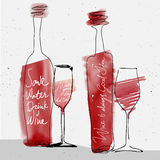 Wine glass and bottle, red watercolor sketched silhouette Royalty Free Stock Image