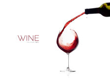 Wine. Glass and Bottle. Red Wine Splash Royalty Free Stock Photos
