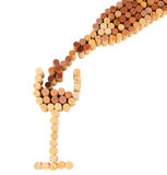 Wine Glass and Bottle Shape Made From Corks Royalty Free Stock Photography
