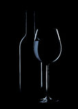 Wine glass and bottle silhoutte Stock Images
