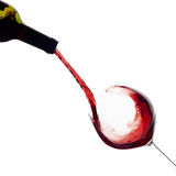 Wine. Glass and Bottle. Splash Royalty Free Stock Images