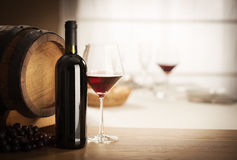Wine glass and bottle still life Royalty Free Stock Images