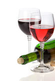 Wine in glass and bottle on white Stock Photo
