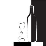 Wine glass and bottle for wine stock illustration