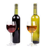 Wine glass and bottle of wine Royalty Free Stock Photos