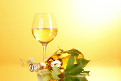 Wine glass and bottle on yellow Stock Photography