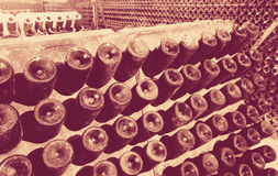 Wine glass  bottles fermenting  in winery cellar Stock Image