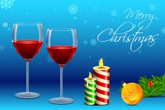 Wine Glass with Candle for Christmas Stock Photography