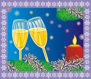Wine glass with candle for Christmas Royalty Free Stock Image