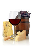 Wine glass and cheese Stock Photos
