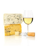 Wine glass and cheese Stock Image