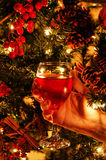Wine Glass and Christmas Tree Stock Photography
