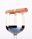 Wine glass with cigar. Closeup Royalty Free Stock Photography