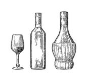 Wine glass, classic and braided bottle. Vintage color engraving vector Royalty Free Stock Photo